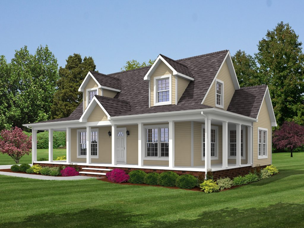 Brookside 1789 square foot cape floor plan for Farmhouse style modular homes