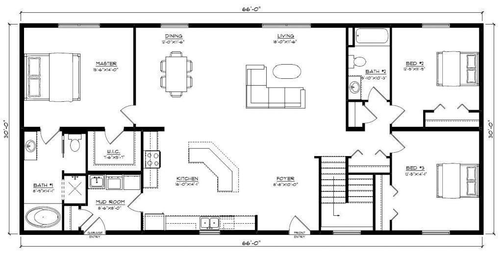 Logan 1980 Square Foot Ranch Floor Plan