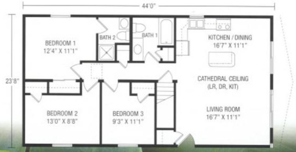 Birchwood 1041 square foot ranch floor plan for Share builders plan