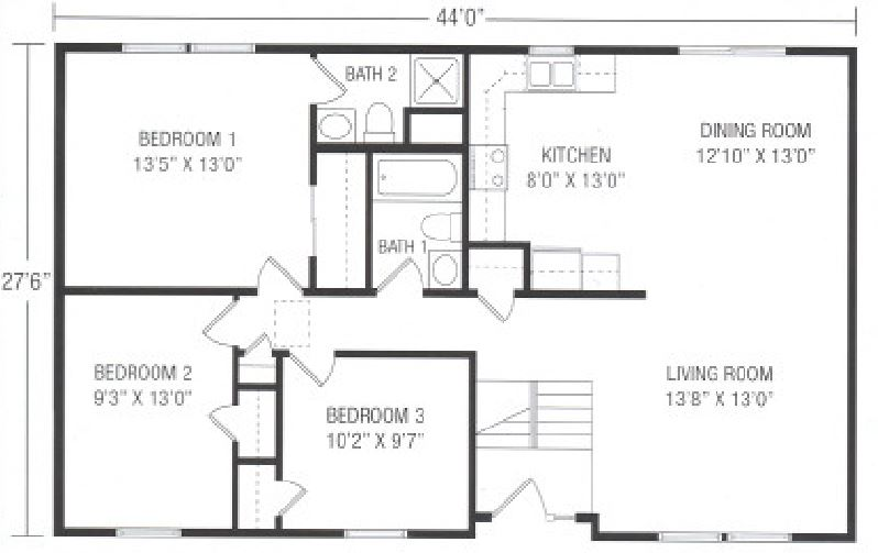 Claremont 1210 square foot ranch floor plan for Share builders plan