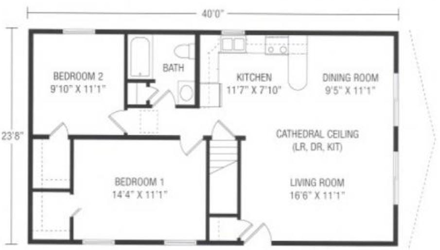 Oakwood 946 Square Foot Ranch Floor Plan