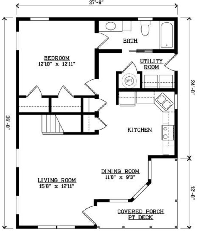 Regatta bay 830 square foot cape floor plan for Share builders plan
