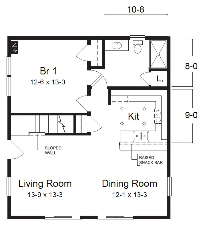 1560 Square Foot Cape Floor Plan
