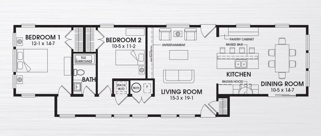 Solar cottage 1168 square foot ranch floor plan for Share builders plan
