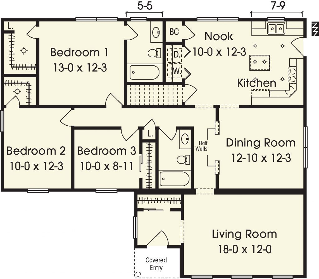 Washburn ii 1500 square foot ranch floor plan for Share builders plan