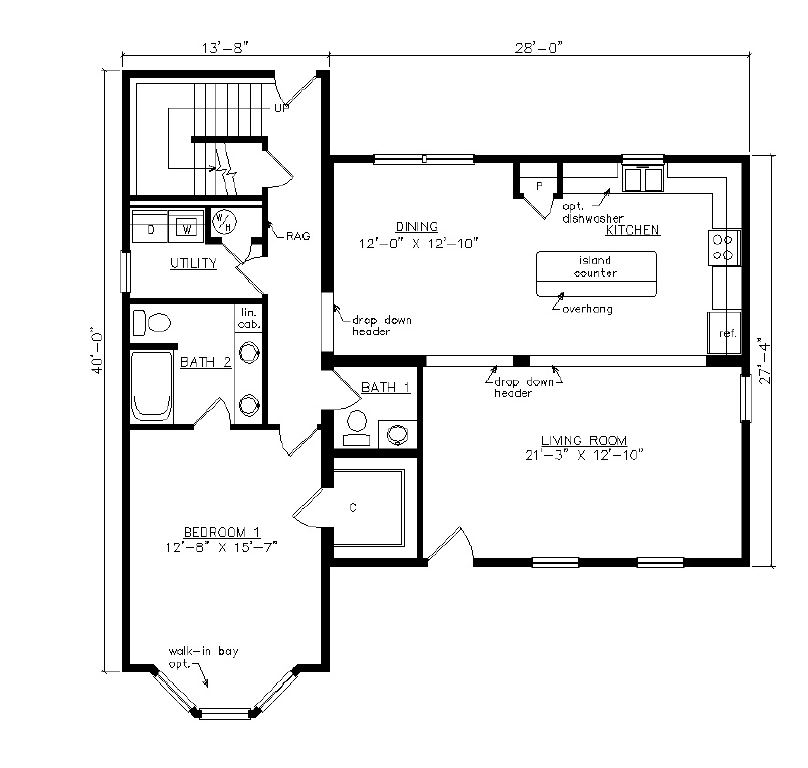 1880 Square Foot Two Story Floor Plan