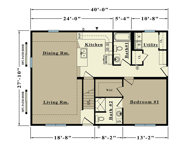 Alaskan 1113 square foot cape floor plan for Share builders plan