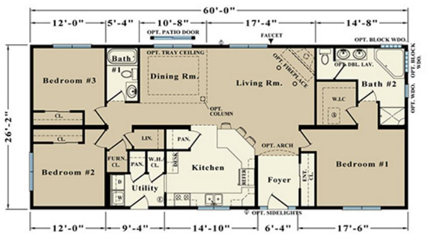 Carrington 1560 Square Foot Ranch Floor Plan