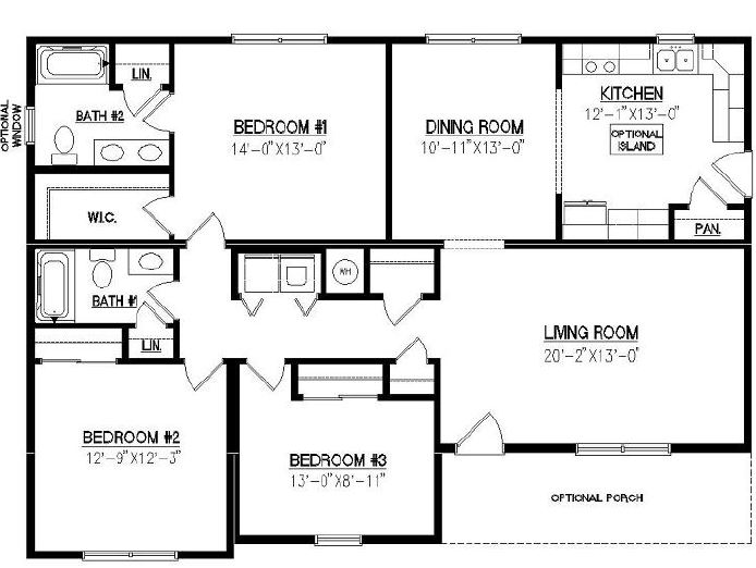 Contour 1499 square foot ranch floor plan for Crawl space house plans