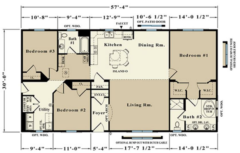 Douglas 1720 square foot ranch floor plan for Share builders plan