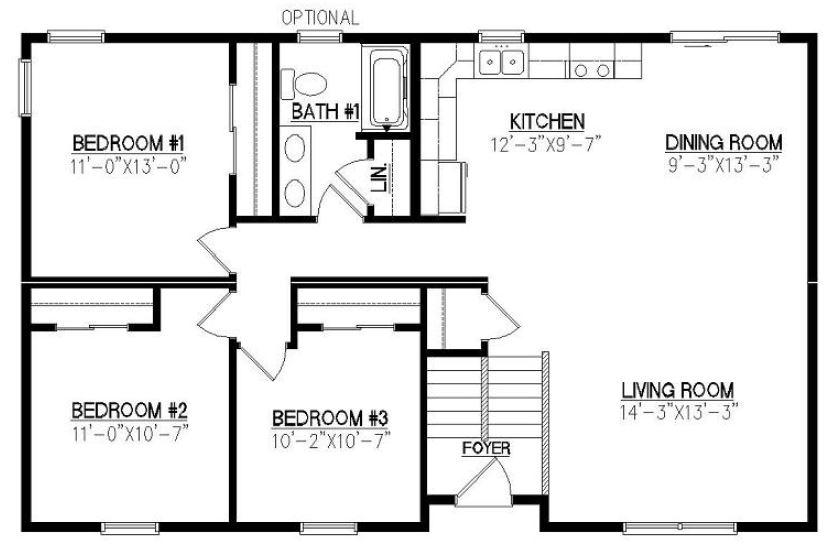 Fillmore 1210 square foot ranch floor plan for Fillmore design floor plans
