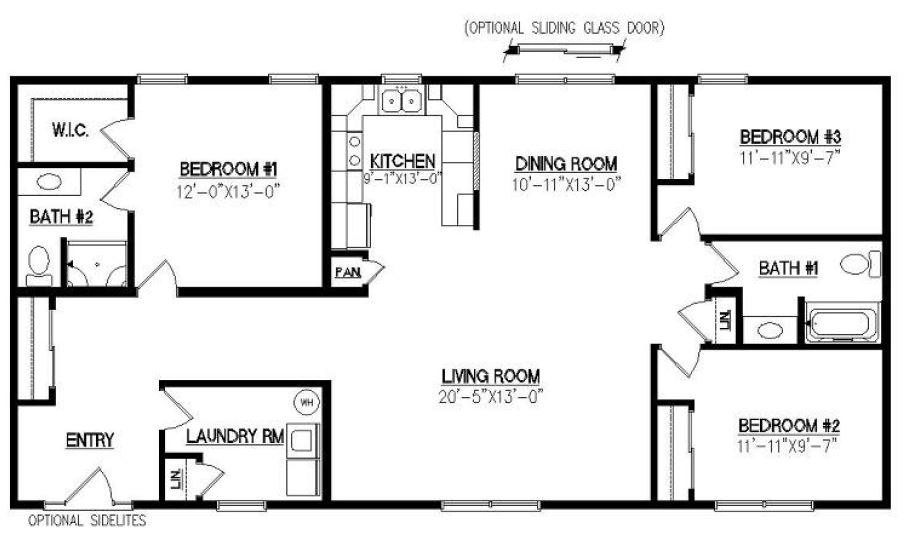 Greenbrier i 1540 square foot ranch floor plan for Crawl space house plans