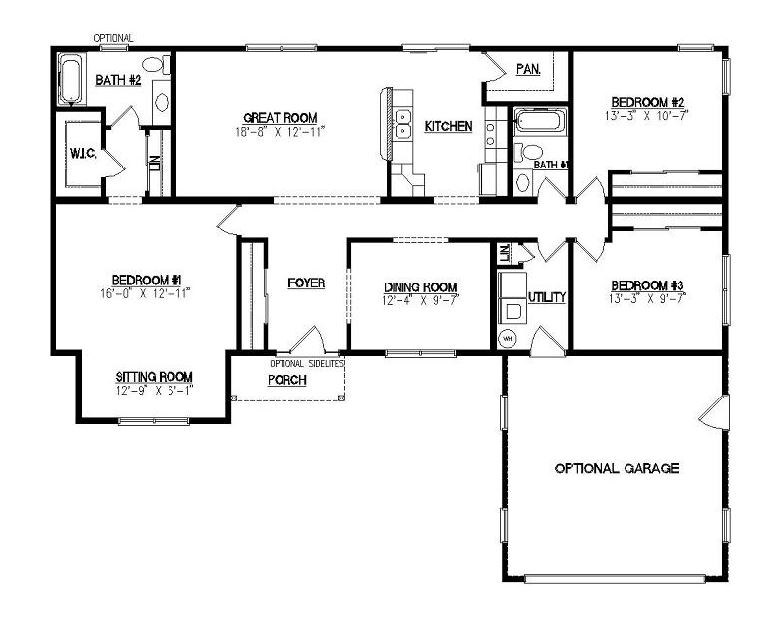 Jamison i 1732 square foot ranch floor plan for Crawl space house plans