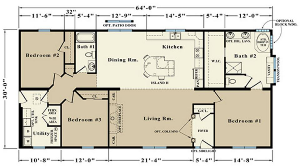 Patriot 1920 square foot ranch floor plan for Share builders plan